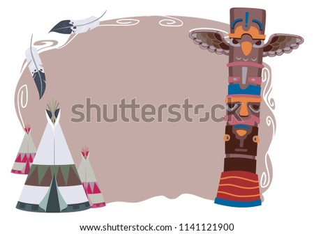 Illustration of Native American Design with Totem Pole and Teepee