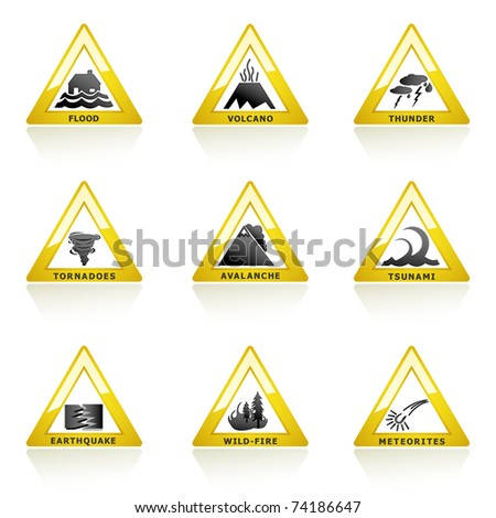 illustration of natural disaster icon on white background