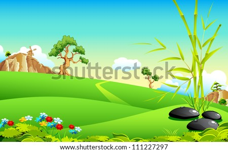 illustration of natural landscape with bamboo tree