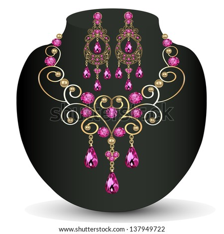 illustration of necklace with pink jewels and earrings