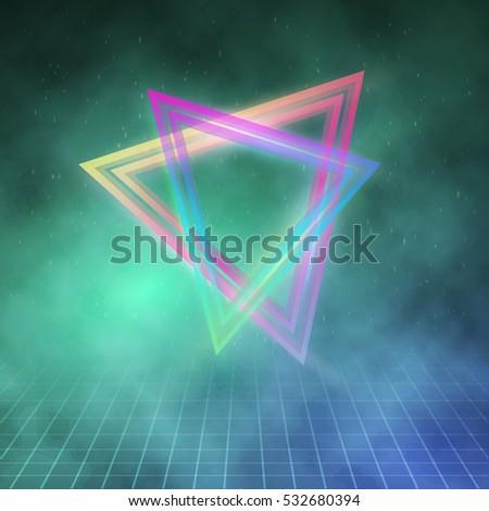 illustration of neon triangle