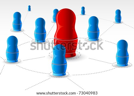 illustration of nesting doll connected with each other showing networking