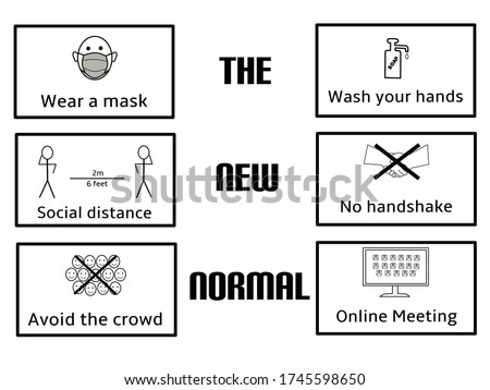 Illustration of 'new normal' with health protocol after the Covid-19 virus outbreak. Stok fotoğraf ©