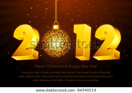 illustration of new year card with 2012 and hanging ball