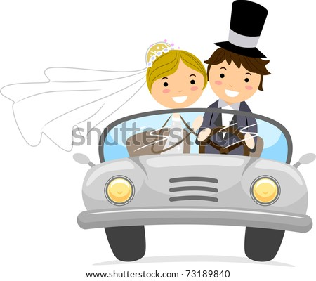 Illustration of Newlyweds in a Bridal Car