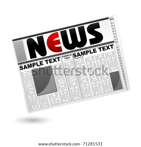 illustration of newspaper on isolated white background