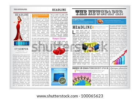 illustration of newspaper with different news on white background
