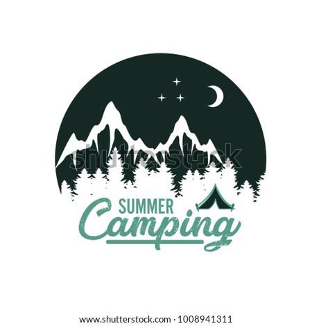 illustration of night camping