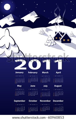 illustration of night  view over mountains with 2011 year calendar