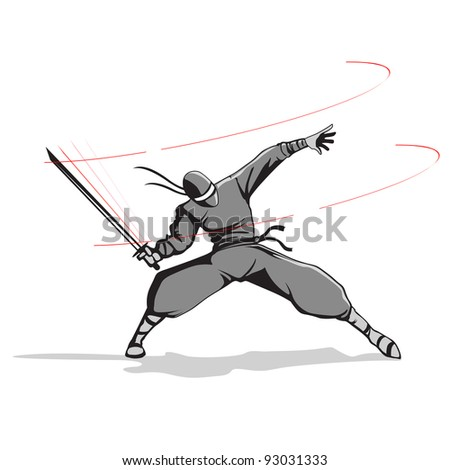 illustration of ninja fighter attacking with sword