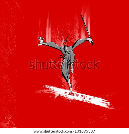 illustration of ninja fighter attacking with sword on grungy background