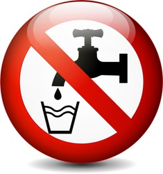 Illustration of no drink water round sign on white background