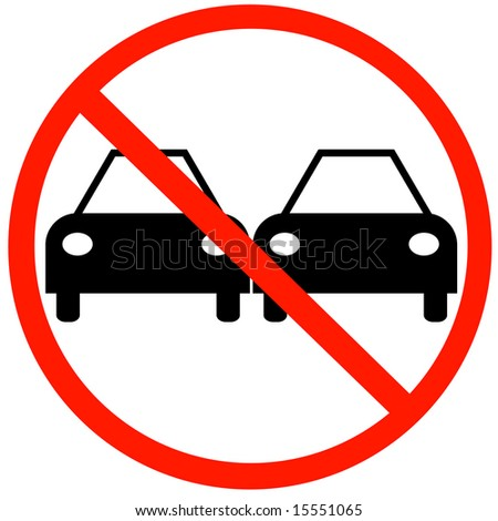 illustration of no passing road sign with two cars