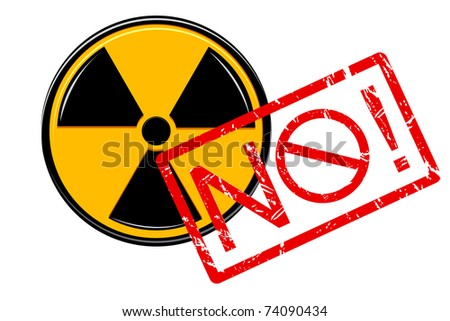 illustration of no with nuclear sign on white background