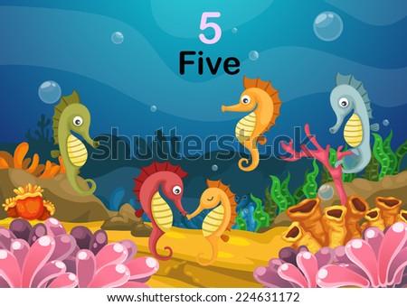 illustration of number five sea