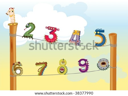 illustration of numbers on white