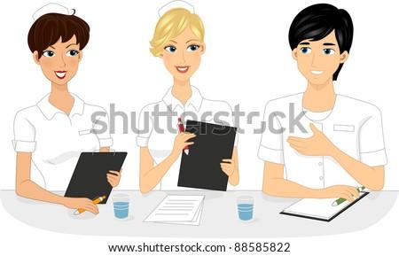 Illustration of Nurses Having a Meeting