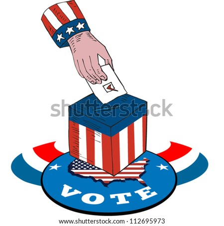 Illustration of of a hand putting ballot voting in box with american stars and stripes flag and map and word vote.