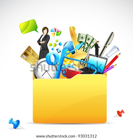 illustration of office stationery with business woman in folder