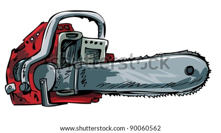 Illustration of old chainsaw. Isolated on white