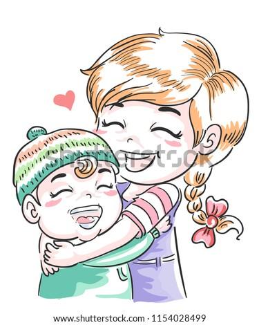 Illustration of Older Sister Hugging Younger Sibling Foto d'archivio ©