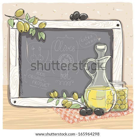 illustration of olives and a...
