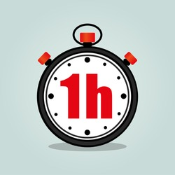 Illustration of one hour stopwatch isolated icon