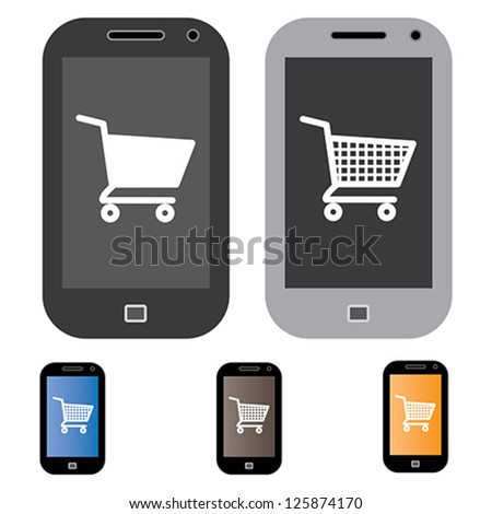 Illustration of online shopping using mobile/cell phone with the concept graphic showing mobile screen with cart icon in black and white. Also included are 3 colorful versions of the graphic
