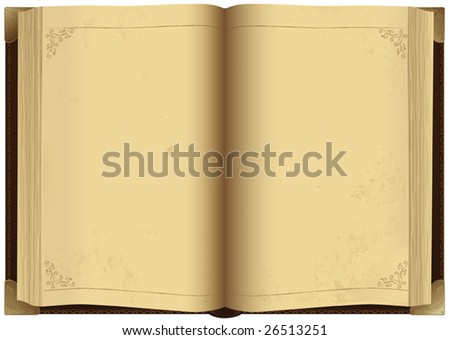 Illustration of open antique book, vector