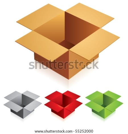 Illustration of open color cardboard boxes with bottom.