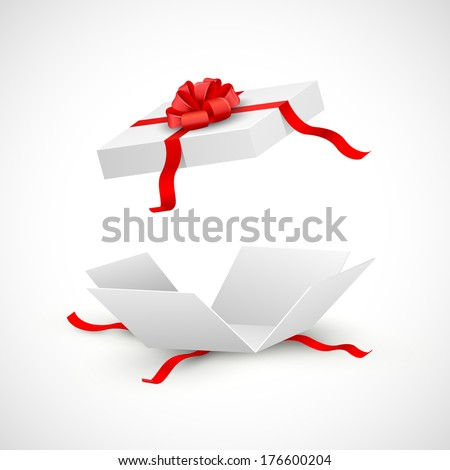 illustration of open gift box surprise