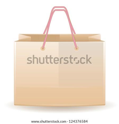 Illustration of opened shopping bag over white background.