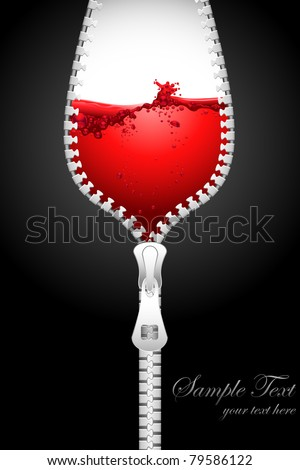 illustration of opening zipper in shape of wine glass filled with splashing wine