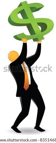 Illustration of orange head lifting dollar sign
