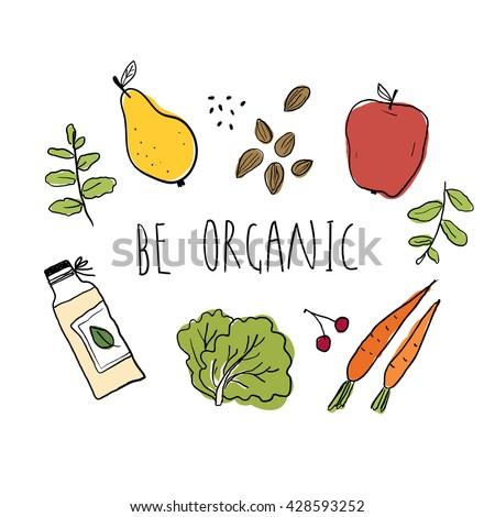 illustration of organic food