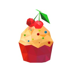 Illustration of origami cupcake with cherries isolated on white background