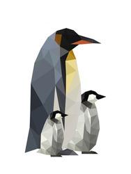 Illustration of origami penguins isolated on white background