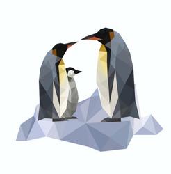 Illustration of origami penguins on ice