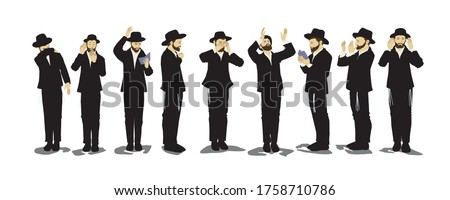 Illustration of Orthodox Jewish chassidim praying and crying. With a hat and a suit. Each character takes a different action: begging, calling in the arrangement, punching his heart, raising his hands Foto stock ©