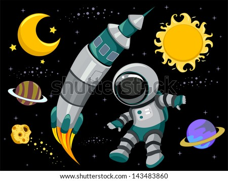 Illustration of outer space design elements on black for Outer image design