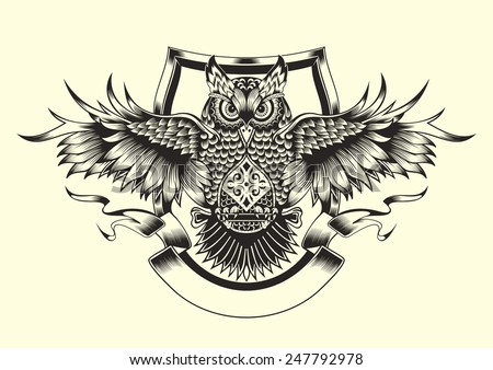 illustration of owl black and