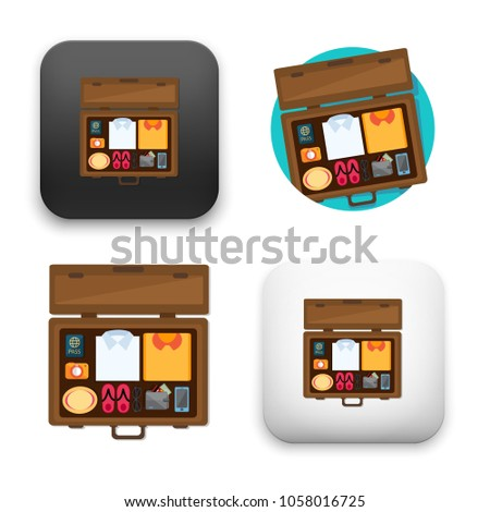 illustration of Packed suitcase for holiday icon