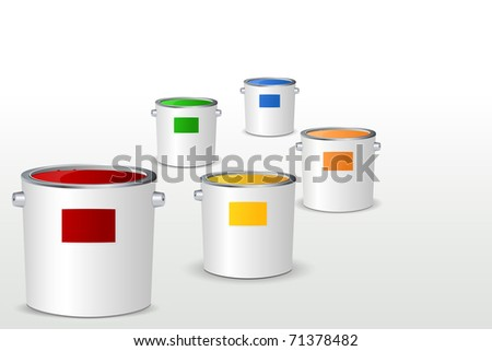 illustration of paint bucket filled with colorful paints on white background