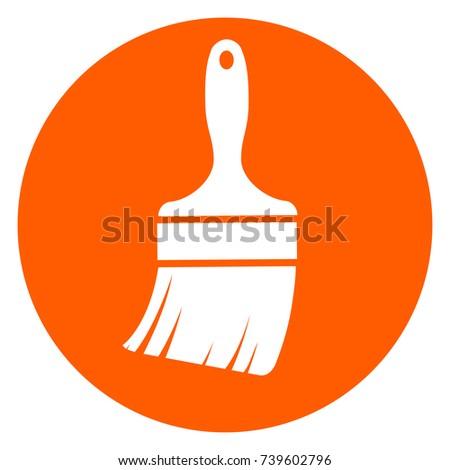 Illustration of paintbrush orange circle icon