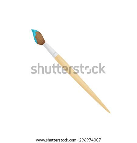 Illustration of paintbrush with blue dye