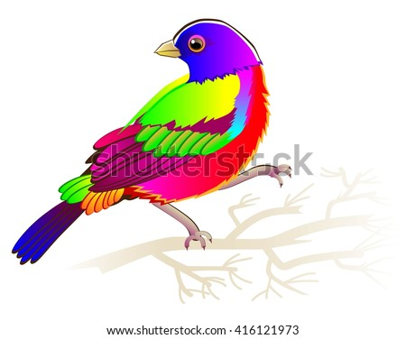 illustration of painted bunting