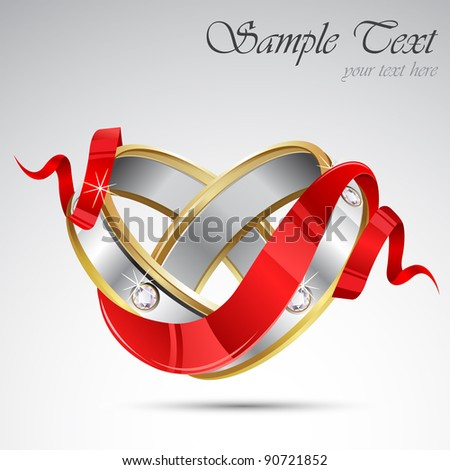 illustration of pair of engagement ring wrapped in ribbon