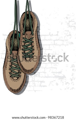 illustration of pair of grungy shoe hanging on wall