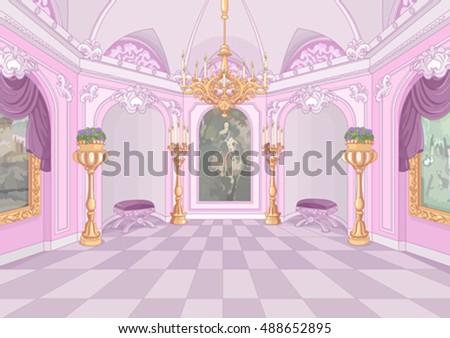 stock vector illustration of palace hall 488652895 - Каталог — Фотообои «Для детской»