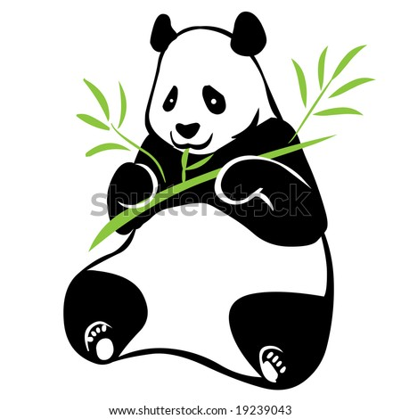 Illustration of panda with bamboo branch